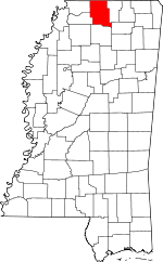 Map of Mississippi showing Marshall County