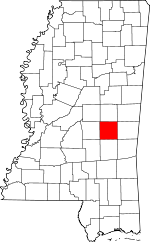 Map of Mississippi showing Newton County