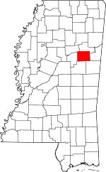 Map of Mississippi showing Oktibbeha County