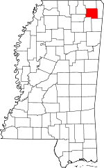 Map of Mississippi showing Prentiss County