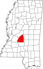 Map of Mississippi showing Rankin County