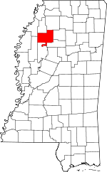 Map of Mississippi showing Tallahatchie County