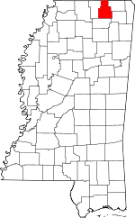 Map of Mississippi showing Tippah County