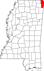 Map of Mississippi showing Tishomingo County
