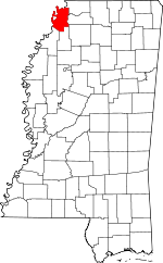 Map of Mississippi showing Tunica County