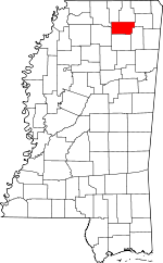 Map of Mississippi showing Union County