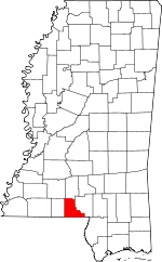 Map of Mississippi showing Walthall County