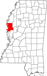 Map of Mississippi showing Washington County
