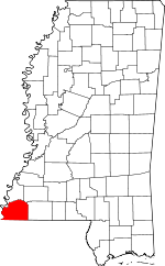 Map of Mississippi showing Wilkinson County