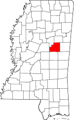Map of Mississippi showing Winston County