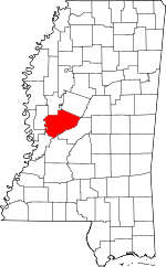 Map of Mississippi showing Yazoo County