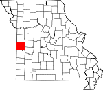 Map of Missouri showing Bates County