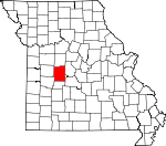 Map of Missouri showing Benton County