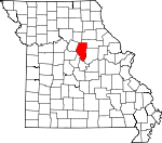 Map of Missouri showing Boone County