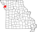 Map of Missouri showing Buchanan County