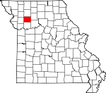 Map of Missouri showing Caldwell County
