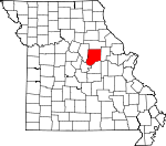 Map of Missouri showing Callaway County