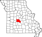 Map of Missouri showing Camden County