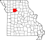 Map of Missouri showing Carroll County