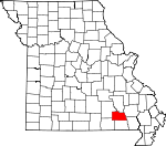 Map of Missouri showing Carter County