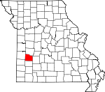 Map of Missouri showing Cedar County