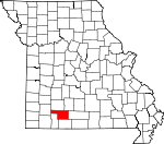 Map of Missouri showing Christian County