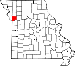 Map of Missouri showing Clay County