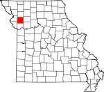 Map of Missouri showing Clinton County