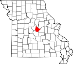 Map of Missouri showing Cole County