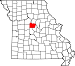 Map of Missouri showing Cooper County