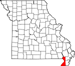 Map of Missouri showing Dunklin County