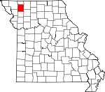 Map of Missouri showing Gentry County
