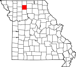 Map of Missouri showing Grundy County