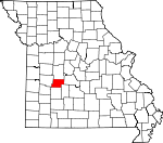 Map of Missouri showing Hickory County