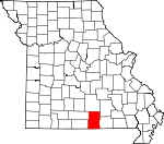 Map of Missouri showing Howell County