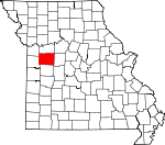Map of Missouri showing Johnson County