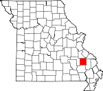 Map of Missouri showing Madison County