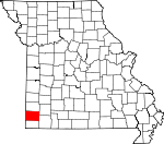 Map of Missouri showing Newton County