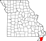 Map of Missouri showing Pemiscot County