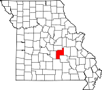 Map of Missouri showing Phelps County