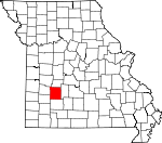 Map of Missouri showing Polk County