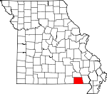 Map of Missouri showing Ripley County