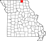 Map of Missouri showing Schuyler County