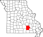 Map of Missouri showing Shannon County