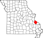 Map of Missouri showing Ste. Genevieve County