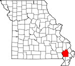 Map of Missouri showing Stoddard County