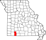 Map of Missouri showing Stone County