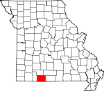 Map of Missouri showing Taney County
