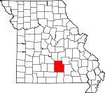 Map of Missouri showing Texas County