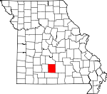 Map of Missouri showing Wright County